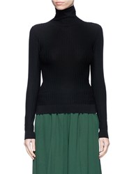 Acne Studios 'Ida' Cotton Blend Rib Knit Turtleneck Sweater Black