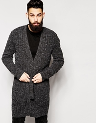 Asos Super Longline Cable Cardigan With Belt Charcoal