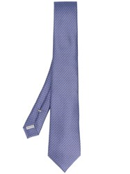 Canali Embroidered Tie Men Silk One Size Blue