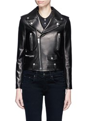 Ysl Beaute 'L01' Padded Leather Motorcycle Jacket Black