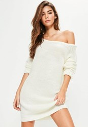 Missguided Cream Off Shoulder Knit Sweater Dress