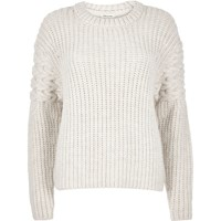River Island Womens Cream Chunky Cable Knit Sleeve Jumper