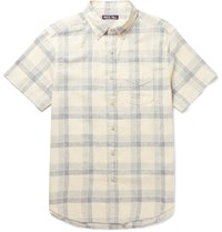 Alex Mill Slim Fit Button Down Collar Checked Linen And Cotton Blend Shirt Blue