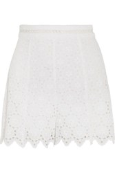 Zimmermann Divinity Wheel Broderie Anglaise Cotton Shorts White