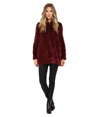 Sam Edelman Faux Fur Striped Jacket Burgundy Women's Coat
