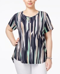 Jm Collection Plus Size Printed High Low Top Only At Macy's Green Solano Stripe