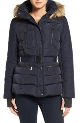 French Connection Women's Belted Quilted Jacket With Faux Fur Trim Utililty Blue