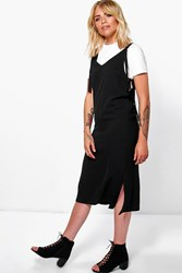 Boohoo D Ring Cut Out Side Pinafore Dress Black