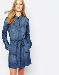 Esprit Denim Dress With Tie Waist Bluemed