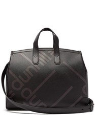 Dunhill Logo Print Faux Leather Weekend Bag Black