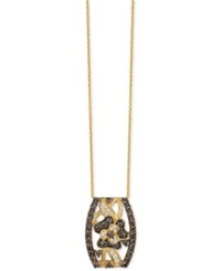 Le Vian Chocolatier Chocolate And White Diamond Pendant Necklace 1 1 4 Ct. T.W. In 14K Gold Yellow Gold
