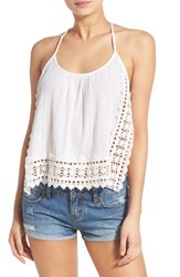 Junior Women's Rip Curl Lace Crochet Trim Side Split Cotton Tank White