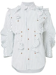 Toga Striped Ruffle Blouse White