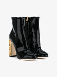 Dolce And Gabbana Clock Embellished Patent Leather Ankle Boots Black Almond Snow White