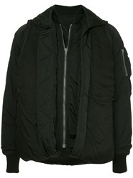 Julius Zipped Bomber Jackete Black