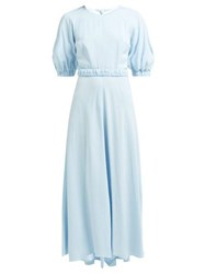 Goat Hannah Belted Crepe Maxi Dress Light Blue