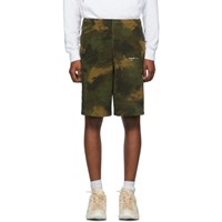 Off White Khaki Paint Brush Camo Sweat Shorts