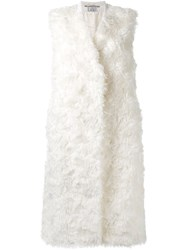 22 4 By Stephanie Hahn Fur Long Vest Nude And Neutrals
