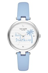 Kate Spade New York Varick Leather Strap Watch 36Mm Blue White Silver