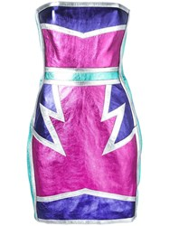 Dsquared2 Glam Metallic Dress Pink Purple