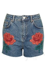 Topshop Women's Rose Embroidered Mom Shorts