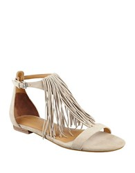 Kendall Kylie Tessa Leather Fringe Sandals Tan