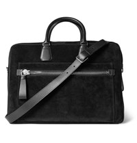 Tom Ford Leather Trimmed Suede Briefcase Black