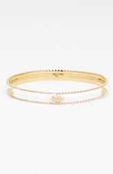 Freida Rothman 'Metropolitan' Fleur De Lis Bangle White Gold Clear