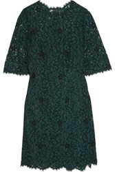 Dolce And Gabbana Corded Lace Mini Dress Emerald