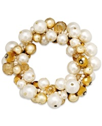 Charter Club Gold Tone Acrylic Pearl Cluster Bracelet