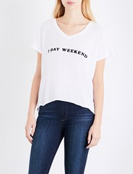 Wildfox Couture 7 Day Weekend Cotton Jersey T Shirt Clean White Black