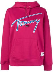 Tommy Jeans Logo Embroidered Hoodie Pink And Purple