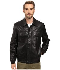 Marc New York Andover Bomber Smooth Lamb Leather Bomber Jacket With Chest Pockets Black Men's Coat