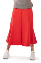Topshop Women's Meg Zip Frill Palazzo Trousers Red