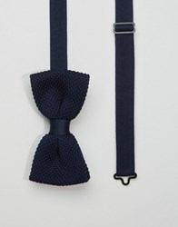 Noose And Monkey Knitted Bow Tie Navy