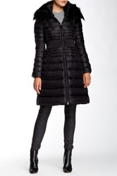 Dawn Levy Genuine Fox Fur Trimmed Belted Down Jacket Black