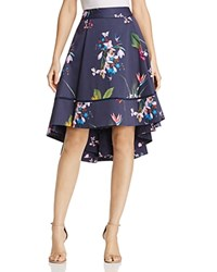 Ted Baker Tropical Oasis Floral Print High Low Skirt Navy