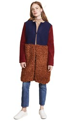 Endless Rose Fuzzy Colorblock Coat Brown