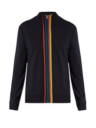 Paul Smith Zip Through Striped Placket Wool Sweater Navy