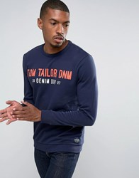 Tom Tailor Sweatshirt With Brand Graphic 6740 Navy