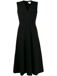 Genny V Neck Flared Dress Black