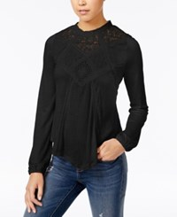 American Rag Lace Inset High Low Peasant Top Only At Macy's Classic Black