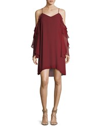 Haute Hippie Finale V Neck Cold Shoulder Ruffled Chiffon Cocktail Dress Heart