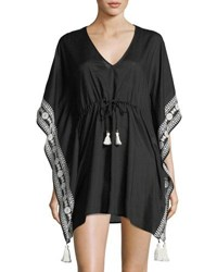 Tory Burch Ravena V Neck Tie Waist Cotton Caftan Coverup Black