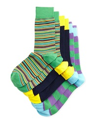 Neiman Marcus Three Pack Stretch Socks Green Purple Navy