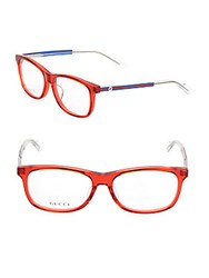 Gucci 55Mm Logo Etched Rectangle Optical Glasses Red