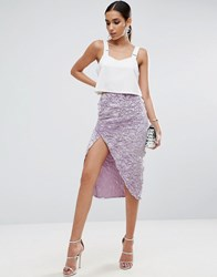 Asos Velvet Wrap Pencil Skirt Lilac Purple