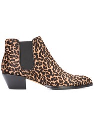 Alexa Wagner Leopard Print Boots Women Leather Calf Hair 39 Brown