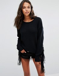 One Teaspoon Silver Sovereign Fringed Knitted Jumper Black Marle