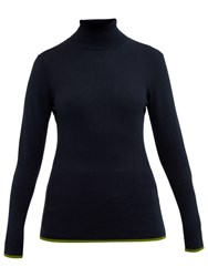 Ted Baker Colour By Numbers Aggi Tipped Roll Neck Jumper Dark Blue